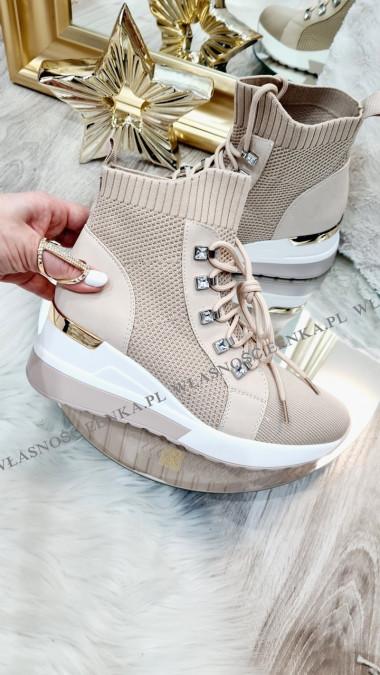 Wyższe Sneakersy Skarpetka Beż Julia