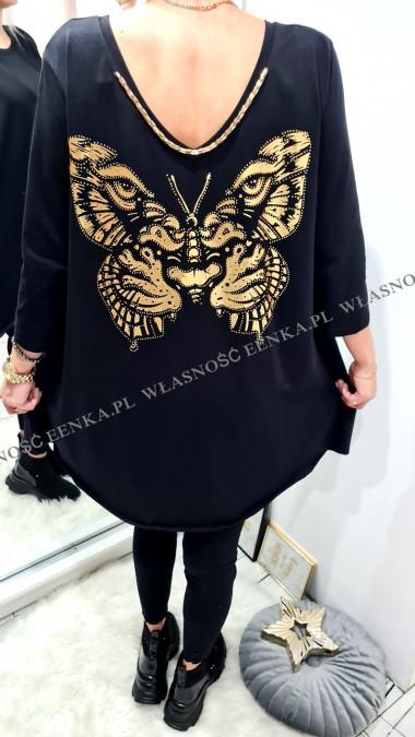 Bluzka Motyl Łańcuch Czarna