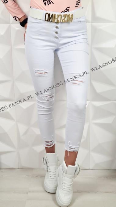 Białe Jeansy Wysoki Stan Guziki