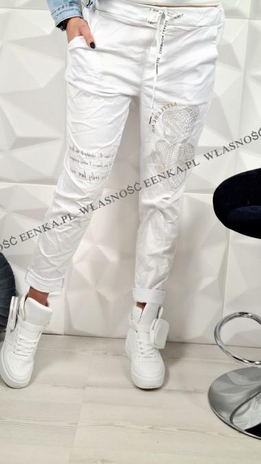 Spodnie Elastyczne Złoty Miś Białe