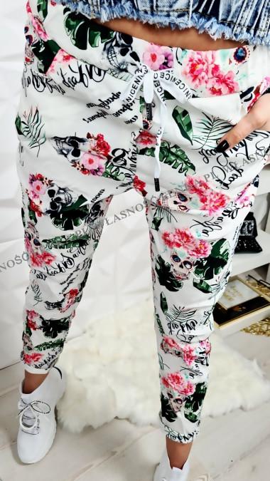 Spodnie Elastyczne Czaszki Kwiaty Liście