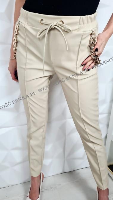 Spodnie Eko-Skóra Złote łańcuchy