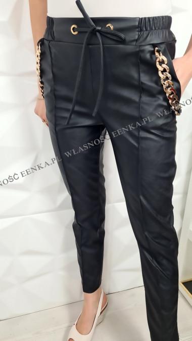 Spodnie Eko-Skóra Złote Łańcuchy Czarne