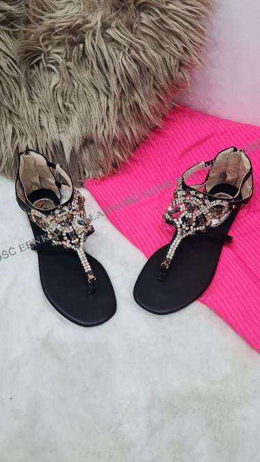 Sandałki Kamienie Czarne Glam