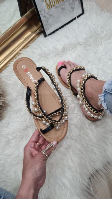 Sandałki Perły Łańcuch Kasandra