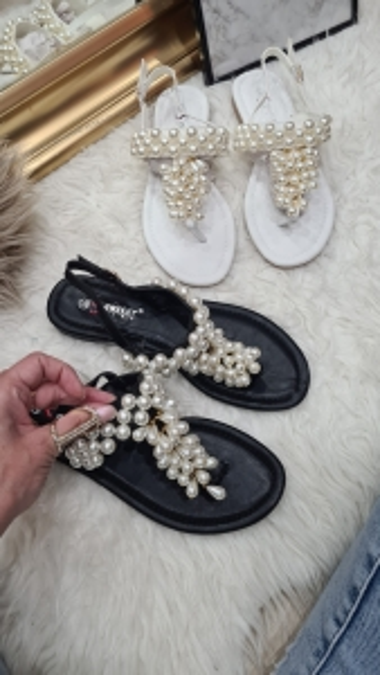 Sandałki Perełki Białe...