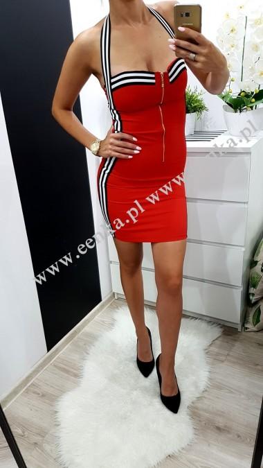 Sukienka Taśma Suwak Czerwień