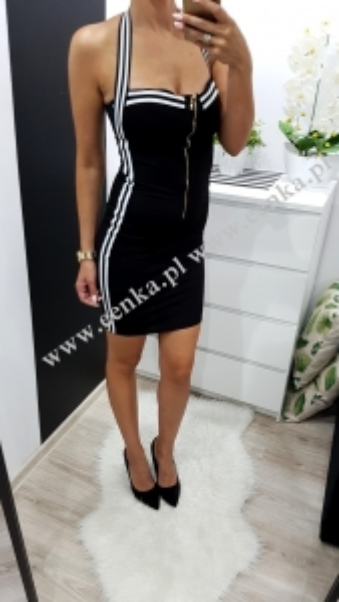 Sukienka Taśma Suwak Czarna