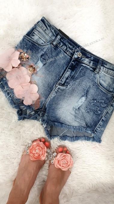 Spodenki Jeans Kwiaty