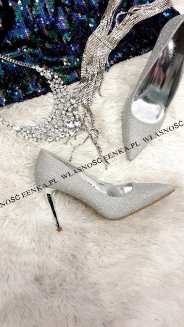 Czółenka Brokat Silver