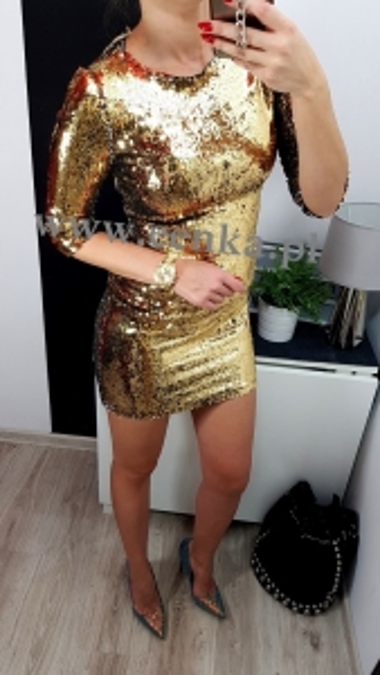 Sukienka Cekiny Złota