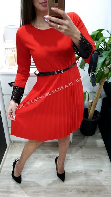 Sukienka Lampas Pasek Czerwona