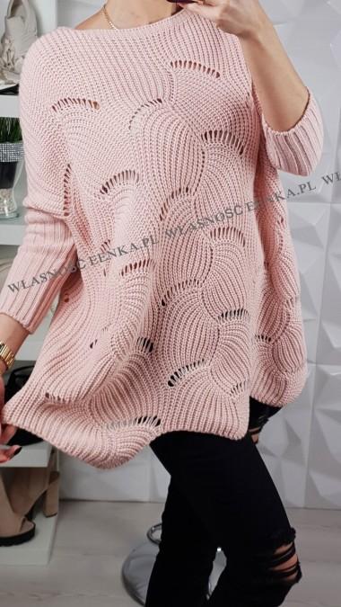 Sweterek Oversize Róż ,Beż