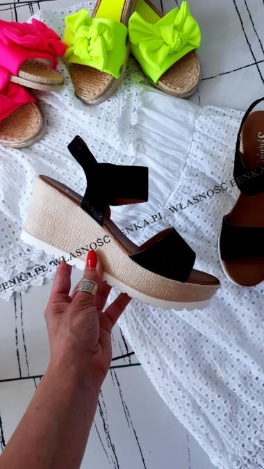 Sandały Koturn Czarne