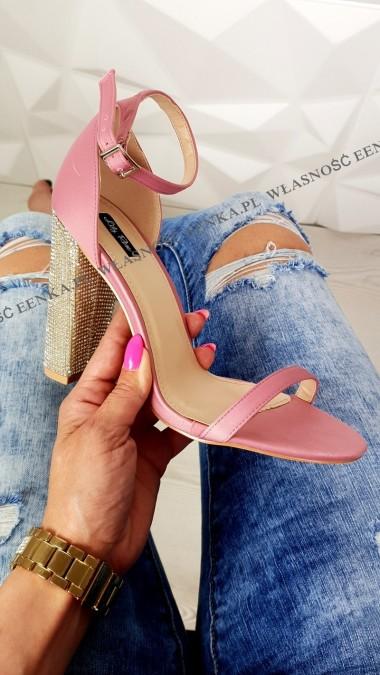 Sandałki Słupek Cyrkonie Róż