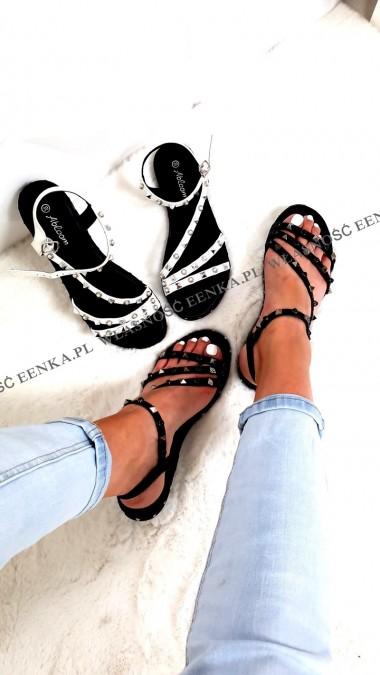 Sandałki Ćwieki Białe Czarne