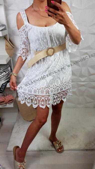 Sukienka Koronka HIT Biała Czarna