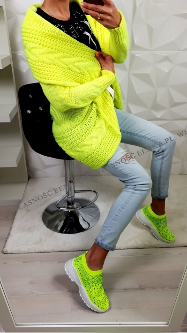 Sweter Warkocz Neon Limonka